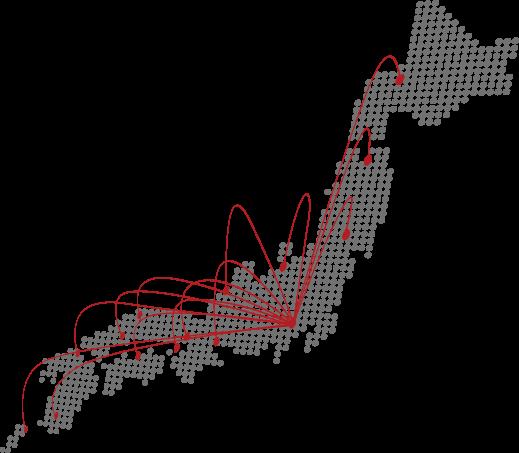 画像:日本地図の東京から各県に線が広がっているイラスト画像